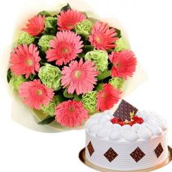 Gerberas And Carnation With Cake