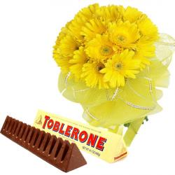 Gerberas Bouquet of Net Packing with Toblerone