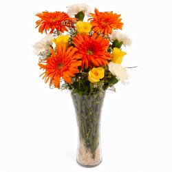 Glass Vase Arrangement of Dozen Seasonal Mix Flowers