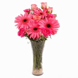 Glass Vase Arrangement of Pink Seasonal Flowers