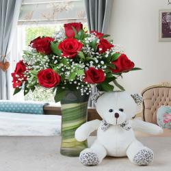 Glass Vase Arrangement with Teddy Bear Soft Toy