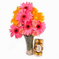 Glass Vase Arrangment of Roses and Gerberas Flowers with Ferrero Rocher Chocolate Box