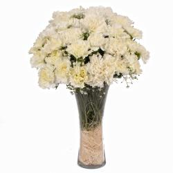 Glass Vase Containing 25 White Color Carnations