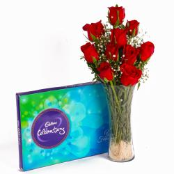 Glass Vase of 10 Fresh Red Roses and Celebration Chocolate Box