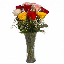 Glass Vase of Dozen Multi Color Roses