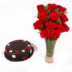 Glass Vase of Dozen Red Roses with Chocolate Cake
