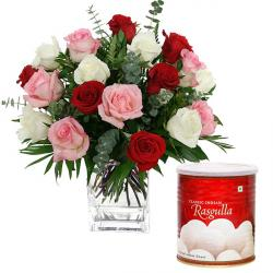 Glass Vase of Mix Roses And Rasgulla