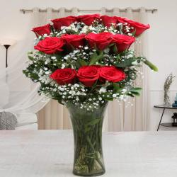 Glass Vase of One Dozen Red Roses