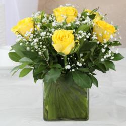 Glass Vase of Six Lovely Yellow Roses