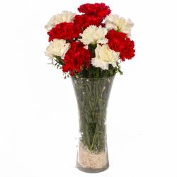 Glass Vase of Ten Red and White Carnations