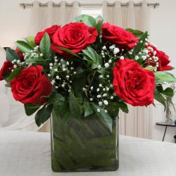 Glass Vase of Ten Red Roses