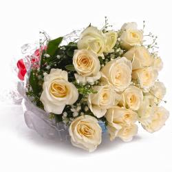 Gorgeous Eighteen White Roses Bouquet