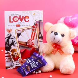 Greeting Card and Teddy Bear with Chocolate