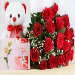 Greeting Card with Red Roses and Cute Teddy Soft Toy