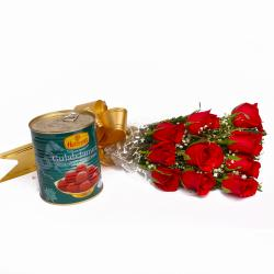 Gulab Jamuns with Fresh Red Roses Combo