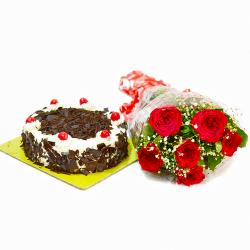 Half Kg Black Forest Cake and Six Red Roses Bouquet