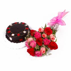 Half Kg Chocolate Cake and Bouquet of Roses and Carnations