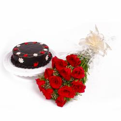 Half Kg Chocolate Cake and Dozen Red Roses Combo