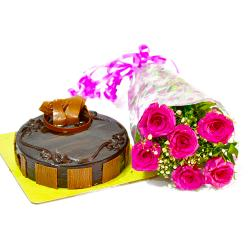Half Kg Chocolate Cake and Pink Roses Bouquet