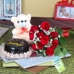 Half Kg Chocolate Cake and Teddy Bear with Red Roses on Mothers Day