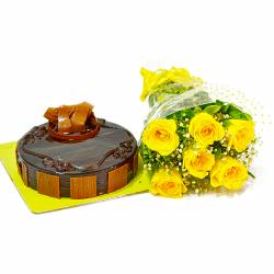 Half Kg Chocolate Cake and Yellow Roses Bouquet