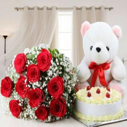 Half Kg Pineapple Cake and Red Roses with Teddy Bear