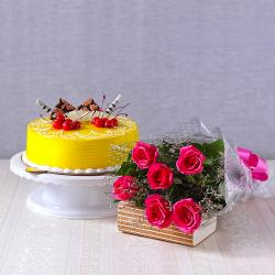 Half kg Pineapple Cake with Six Pink Roses Bouquet