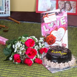 Hamper for Sweet Couple of Flowers and Cake