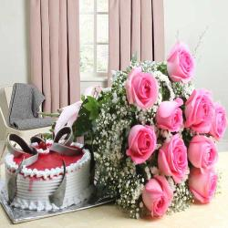 Hamper of Pink Roses with Strawberry Cake