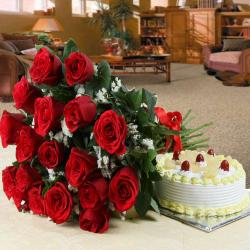 Hamper of Red Roses with Pineapple Cake