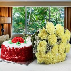 Hamper of Red Velvet Cake and Yellow Carnations