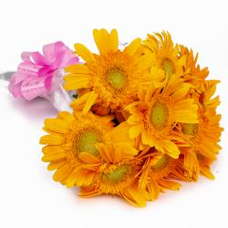 Hand Tied 10 Yellow Gerberas