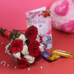Hand Tied Bouquet and Chocolates with Birthday Greeting Card