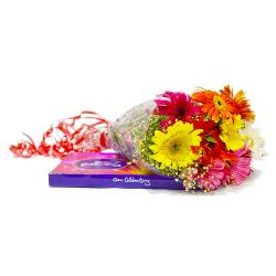 Hand Tied Bouquet of 10 Mix Gerberas with Celebration Chocolate  Box