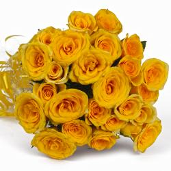 Hand Tied Bouquet of 25 Yellow Roses