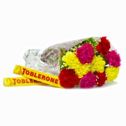 Hand Tied Bunch 10 Assorted Colour Carnation with Toblerone Chocolate Bars