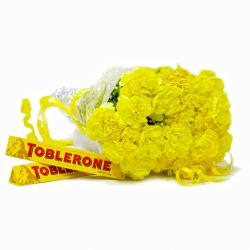 Hand Tied Bunch 20 Yellow Carnations with Toblerone Chocolate Bars