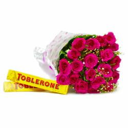 Hand Tied Bunch of 20 Pink Roses with Toblerone Chocolate Bars