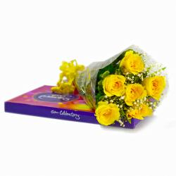 Hand Tied Bunch of 6 Yellow Roses with Celebration Chocolate Box