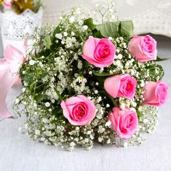 Hand Tied Bunch of Fresh Six Pink Roses