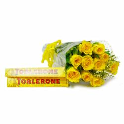 Hand Tied Bunch of Ten Yellow Roses with Toblerone Chocolate Bars