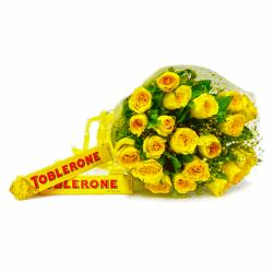 Hand Tied Bunch of Twenty Yellow Roses with Toblerone Chocolate Bars