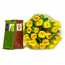 Hand Tied Bunch of Yellow Roses with Cadbury Temptation Chocolates