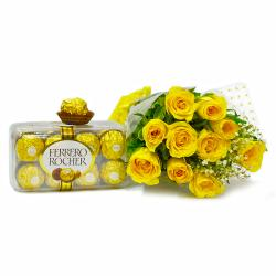 Hand Tied Bunch of Yellow Roses with Ferrero Rocher Imported Chocolate Box