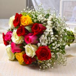 Hand Tied of Fabulous Fifteen Assorted Roses