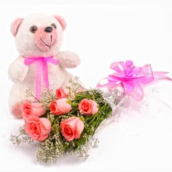 Hand Tied Six Pink Roses and Teddy Bear
