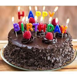 Happy Birthday Dark Truffle Chocolate Cake