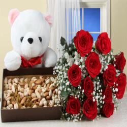 Healthy Dry Fruits Box and Red Roses with Teddy Bear