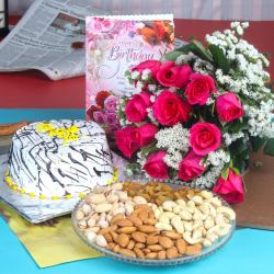 Healthy Dryfruit Birthday Treat with Vanilla Cake and Roses