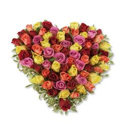 Heart shape arrangement of 50 Mix Roses